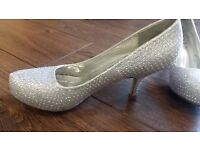 Silver sparkly and dark silver strapy heels