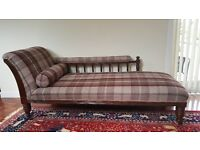 Edwardian chaise longue. Excellent condition and newly upholstered in brown and beige tartan check