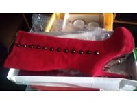 Red Knee Length Boots NEW