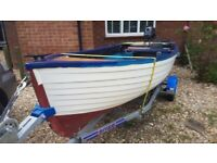12ft 'Clinker' GRP boat with Snipe trailer and 4hp Yamaha outboard