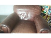 3 leather seater sofa with 2 armchairs
