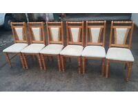 6 SOLID WOOD CHAIRS WITH CREAM UPHOLSTERY