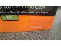 2 x 2.5ltr B&Q silk emulsion pumpkin colour