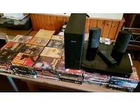 150 dvds and a Philips 3d blu-ray home entertainment system