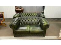 Stunning pair of leather chesterfield 2 and 3 seater sofas £900