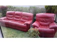 Red 3 seater recliner and chair