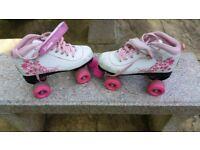 SFR VISION GIRLS JUNIOR QUAD ROLLER SKATES - Pink and white - Size: UK 3