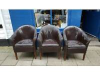 3 old tub chairs in need of restoration