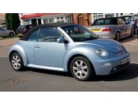 VW BEETLE CONVERTIBLE BLUE LEATHERS FULL SERVICE HISTORY FULL HPI CLEAR DRIVES PERFECT PX WELCOME