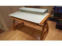 Oak and White glass computer desk 130 cm