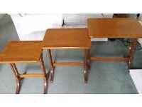 Teak nest of 3 tables