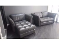 Sofology leather sofa set in slate grey - only 2 months old