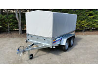 NEW TWIN AXLE TRAILER CAMPING TRAILER 8,6 FT X 4,4 FT 750 kg - UNBRAKED