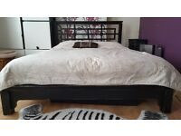 King size black wooden bed frame