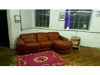 Ex Display Marks & Spencers Corner Sofa Leather Burgundy Brown Red Colour Curved L Shape RRP £3099
