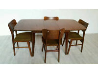Vintage Mid-century Solid Teak Dining Table and 4 Chairs