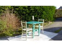 Small, Vintage Bistro Table & 2 Chairs. Shabby Chic, Teal & Cream. Delivery Available.
