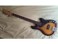 Squier Dimension active bass guitar and hard case
