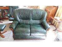 Green Leather Two Seater Sofa in excellent condition. Made by Rosini of Italy.