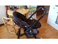 Black Joie Car seat and Graco Evo pram with seperate buggy attachment for sale, excellent condition