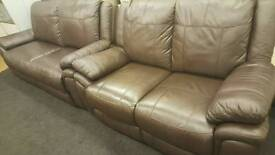 Dark brown real leather reclining 3+2 seater sofas