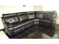 Designer Black leather electric 4 piece corner sofa (130) £999