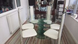 Twisty Large Clear Glass Dining Kitchen Table