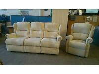 3 seater sofa with matching recliner armchair