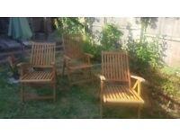 3 Folding Wooden Garden Chairs