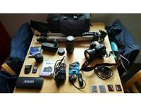 Canon eos 7d with lots of accessories and lenses.