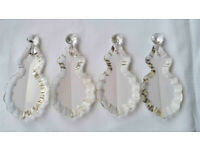 *** 4 Antique Vintage French Pendeloque/Prism Chandelier Glass Crystal Prism with Bead ***