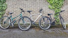 3 Bicycles 2 ladies and one mens all 26 inch wheels