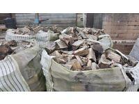 Firewood logs and coal