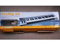 KeyRig 49 ,USB Keyboard. M-Audio, 49 note keyboard in box. Hardly used.
