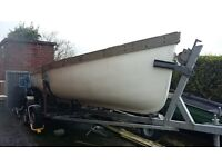 18 foot boat & trailer. £1.850. o.n.o. Displacement hull, sea/lough. I'm listing her as a project.