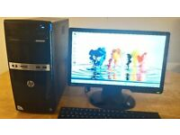 "Fast SSD -HP Elite Desktop Tower Computer PC & Benq 19"" Monitor Widescreen SAVE £30"