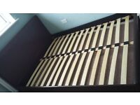 king size bed, faux leather good used condition.