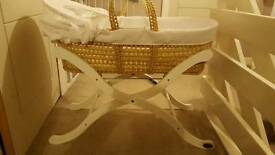 Baby Weavers White Waffle Moses Basket and White Stand