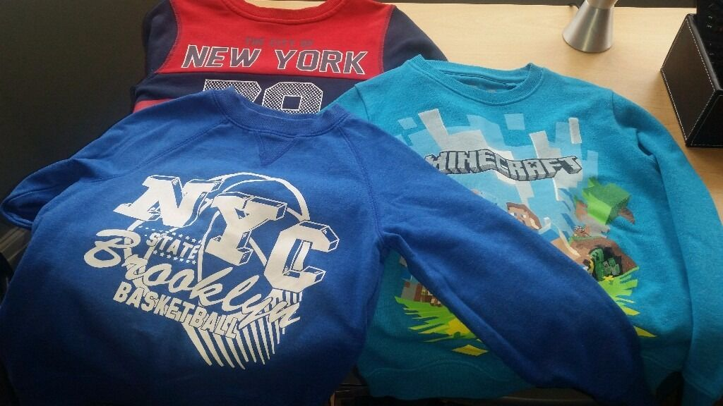 Boys sweatshirts age 6to7in Bootle, MerseysideGumtree - 3 boys used sweatshirts, Next minecraft age 6 Navy and red asda age 6to7 Royal blue asda age 6to7 Lovely condition all washed from smoke free, pet free home collection only from Litherland £6.00 for the 3