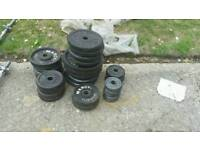 Mizture of cast iron weights and bars