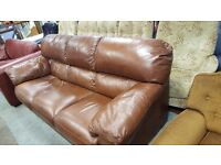Three Seater Brown Leather Sofa in very Good Condition