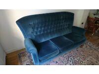 Parker Knoll vintage 3 seater winged sofa, blue velvet retro mid century design - retro! o.n.o.