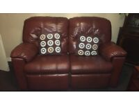 3, 2 & 1 seater Brown leather recliner sofas