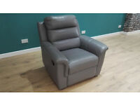 Ex Display Grey Leather Recliner. Genuine Soft Leather. RRP £749. Free Delivery Up To 20 Miles