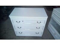 Two chest of drawers and one bedside cabinet