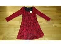 Petite dress, red lace design, size 14