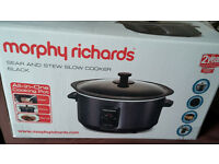 Morphy Richards Sear and Stew Slow Cooker - Black like new