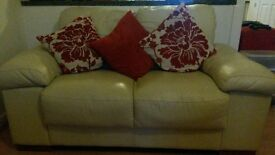 Cream Leather Sofas (2 and 3 seater) - Great Condition!
