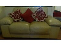 Two cream leather sofas - URGENT COLLECTION!!