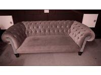 Chesterfield Sofa (Grey) Velvet ish Material